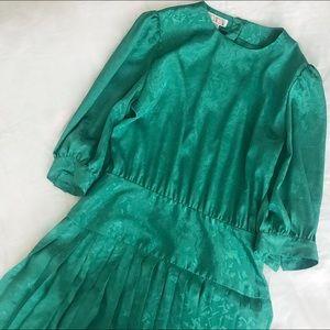 80s Emerald Pleat Dress